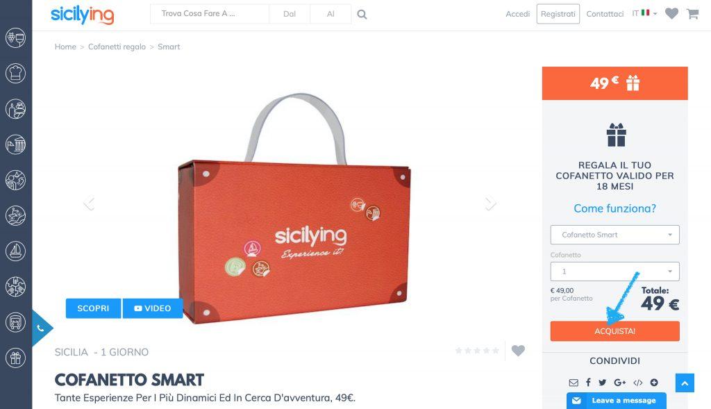 Idee regalo Sicilia: clicca su acquista e procedi con il pagamento!